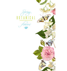 Flower butterfly banner vector