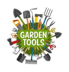Gardening tools equipment and green grass vector