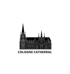 Germany cologne cathedral flat travel skyline set vector