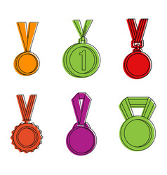 gold medal icon set color outline style vector image