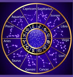 Golden circle zodiac constellation vector