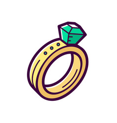 Golden engagement ring with emerald icon vector