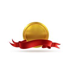 Golden medal sticker gold metal badge vector