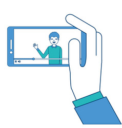 hand holding smartphone with video blogger on vector image
