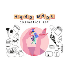 Hand made cosmetics set organic outlined simple vector