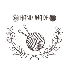 hand made sewing wool roll and needles vector image