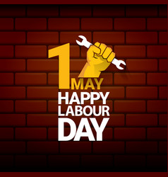 Happy labour day label with strong orange vector