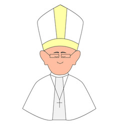 happy pope with glasses on white background vector image