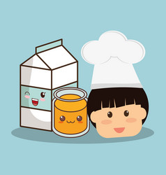 head boy with milk and juice vector image