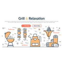 header grill and relaxation vector image