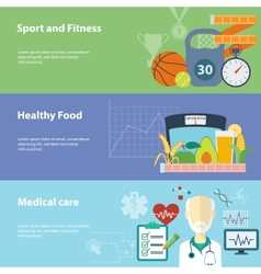 healthy lifestyle flat banners set vector image