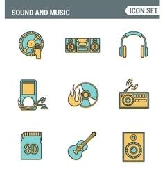 Icons line set premium quality of sound symbols vector image