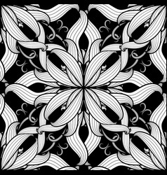 Intricate damask black and white floral vector
