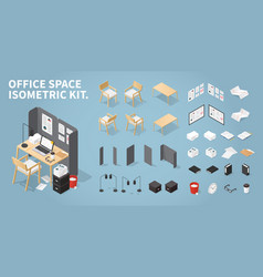 Isometric office workplace set vector