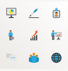 job icons flat style set with team world vector image
