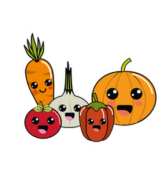 kawaii happys vegetables icon vector image