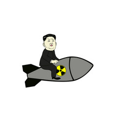 kim jong-un control nuclear missile flat design vector image
