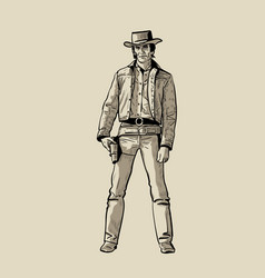 Man with cowboy hat and gun western gunfighter vector