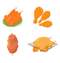 Meat icon set cartoon style vector