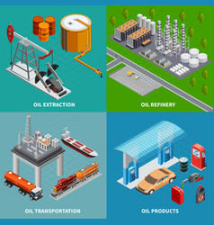Oil industry 2x2 concept vector