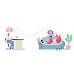 Online psychological help service flat vector