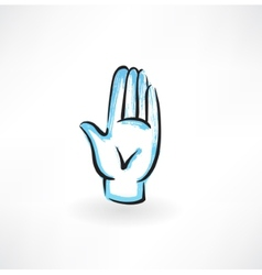 Palm hand grunge icon vector