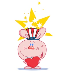Patriotic rabbit cartoon vector image