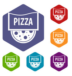 pizza badge or signboard icons set hexagon vector image