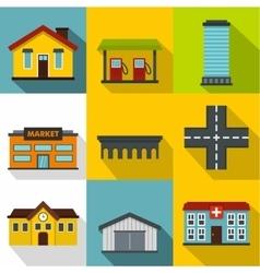 Public building icons set flat style vector