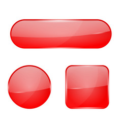 Red glass buttons web 3d shiny icons vector