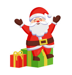 santa claus sitting on colorful gift boxes icon vector image