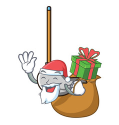 santa with gift mop mascot cartoon style vector image