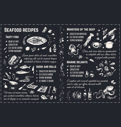 seafood recipes chalk drawing sketches vector image