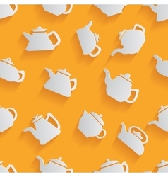 seamless pattern kettle with a long shadow vector image
