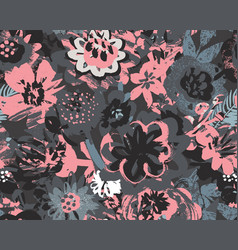 seamless pattern with plants leaves vector image