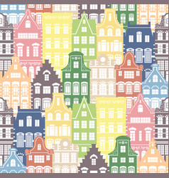 seamless shapes pattern holland houses facades vector image