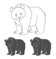 set black and white images with a bear vector image