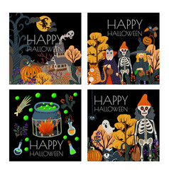 set halloween banner or card with scary vector image