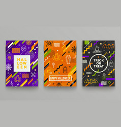 set halloween poster banner or greeting card vector image