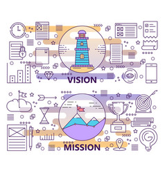 set modern thin line vision and mission vector image