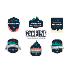 set of camping outdoor adventure and mountain vector image