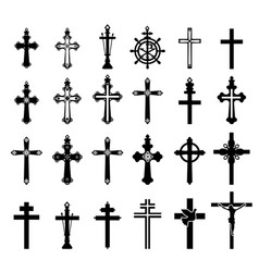 Set of crucifixes vector