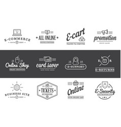 Set of e-commerce icons shopping and online can vector