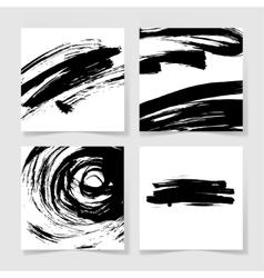 Set of four black ink brushes grunge square vector