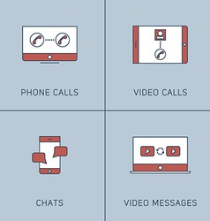 Set of Modern Thin Line Icons Phone Calls Video vector