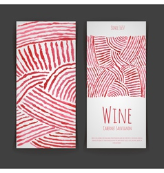 Set wine labels artistic watercolor background vector