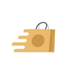 shopping bag fast logo flat cartoon quick vector image
