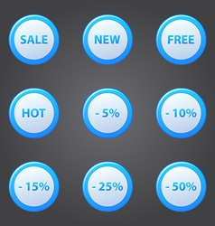 Shopping blue icons set - collection of sale vector
