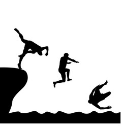Silhouettes of men jumping into water vector