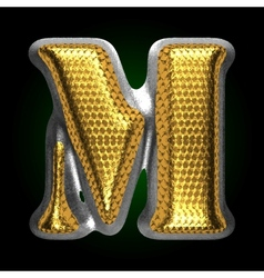 Silver figure with gold m vector
